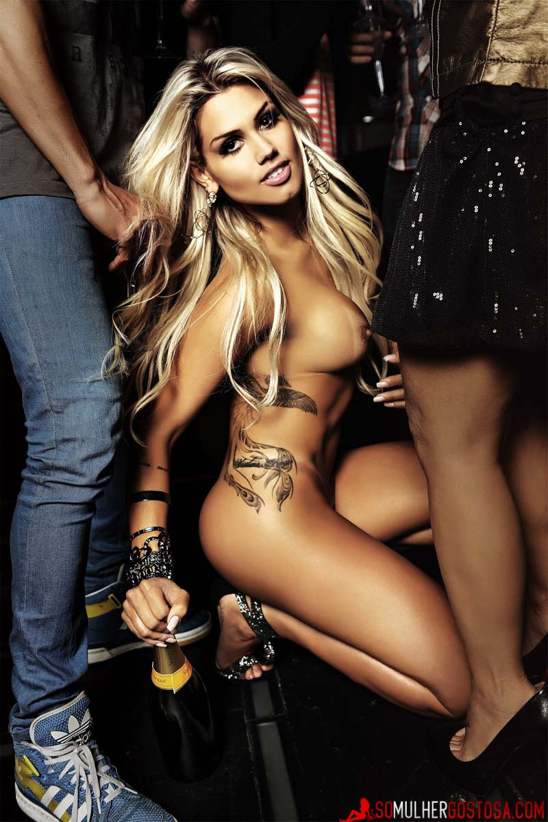 tattoo, tan lines, party, champagne bottle, dancing, club,